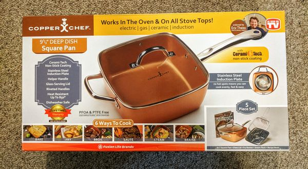 Copper chef 9 and 1/2 inch square deep dish pan 5 pieces