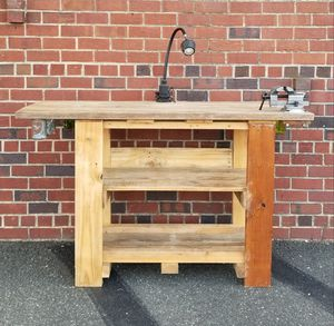 REDUCED! Work bench, reclaimed wood, handmade, wood work, swivel vise, table lamp for Sale in Washington, DC