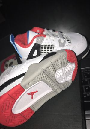 Jordan 4 Retro White/Military Blue Fire Red for Sale in Chattanooga, TN