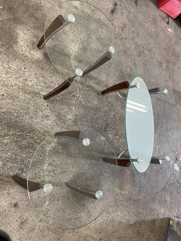 Coffee Leaving Room Table Set Glass Wood