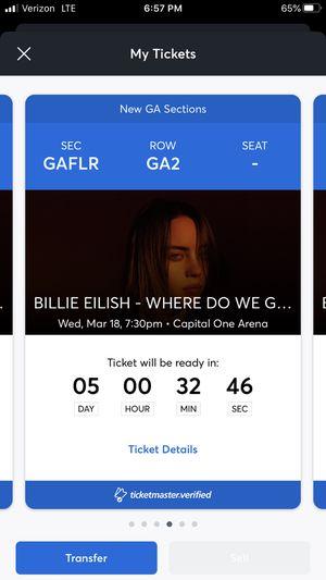 Billie Eilish 3/18/20 Capital One Arena Ticketmaster Mobile Verified Transfer for Sale in Alexandria, VA