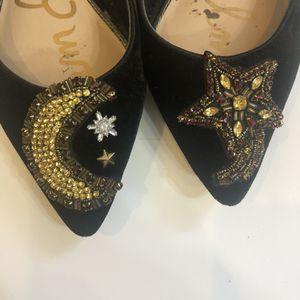 Sam Edelman Black Velvet Embellished Flats Size 10 for Sale in West McLean, VA