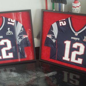 2 Framed Tom Brady Patriot Jerseys for Sale in Auburndale, FL