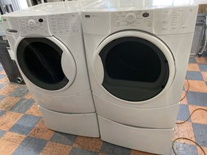 KENMORE HE FRONT LOAD WASHER AND DRYER SET WITH PEDESTALS for Sale in Ontario, CA