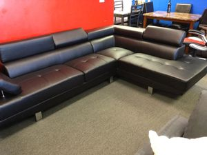 Black Faux Leather Sectional! $450 for Sale in Toms River, NJ