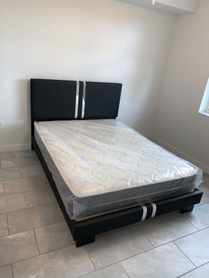 New queen black bed frame with the mattress FREE DELIVERY and installation for Sale in Hollywood, FL