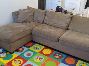 Tan Sectional Couch, with Chair and Ottoman for Sale in Anaheim, CA