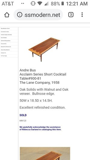 Lane surfboard coffee table dovetail styling- made by Andre Bus for Sale in Chico, CA