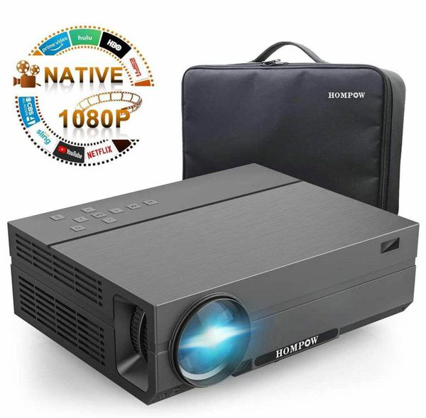 2020 Upgraded Native 1080P Video Projector 5500Lux 80,000 Hours Led for PPT Business Presentations Home Theater Compatible