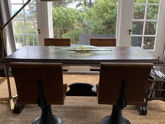 Antique Library Table With Heavy Iron Schoolhouse Chairs for Sale in Portland,  OR