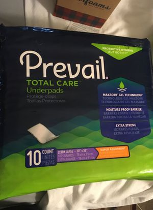 New prevail bed xtra large underpads 10 count $5 a pack for Sale in Fontana, CA