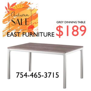 Grey washed wood chrome dinning Table for Sale in Boca Raton, FL
