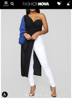 "Fashion nova ""My Fun Side"" Tunic black / royal blue for Sale in Columbia,  MD"