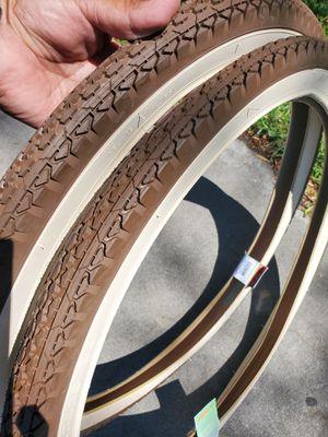 PAIR OF 26x2.125 BIKE TIRES BROWN CREAM IN NORWALK 5 AM-9PM for Sale in Norwalk, CA