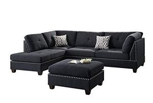 New Sectional Couch Black with Ottoman for Sale in Los Angeles, CA