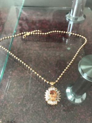 """18k Gold Champagne Diamond Pendant + 22"""" Chain for Sale in Santa Monica, CA"""