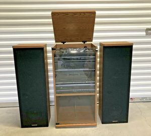 STEREO COMBO: TURNTABLE, CASSETTE PLAYER, CD DVD PLAYER, SPEAKERS & CABINET for Sale in Lake Zurich, IL