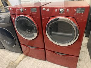 Red Whirlpool Front Load Washer & Gas Dryer Set With Pedestals for Sale in Orange, CA