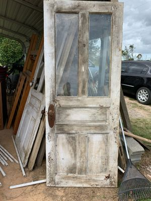 Antique solid wood door w/ 2pane glass intact and hardware for Sale in Broadway, NC