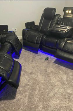 🍂🍃$39 Down Payment 🍂🍃 Party Time Midnight LED Power Reclining Sofa with Adjustable Headrest IN STOCK SAME DAY DELIVERY for Sale in Beltsville,  MD