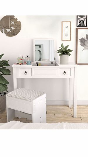 Vanity Set with Flip Top Mirror Makeup Dressing Table Writing Desk with 2 Drawers Cushioned Stool 3 Removable Organizers, Easy Assembly, White for Sale in Corona, CA
