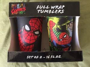 Marvel Comics Spiderman Full Wrap Tumbler Set of 2 16 oz BRAND NEW IN BOX for Sale in Tempe, AZ