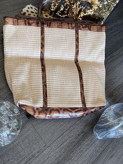 PAOLA DEL LUNGO woven straw with leopard handbag for Sale in Alexandria,  VA