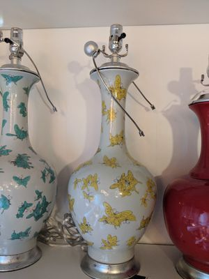 papillon porcelain lamp w shade - 2 colors for Sale in Waltham, MA