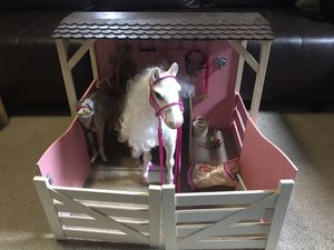 Our Generation Doll stable with 2 horses and many accessories (can be used with American Girl dolls) for Sale in Amherst, OH