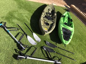 2 10' Kayaks Paddles and Roof Brackets for Sale in Mesa, AZ