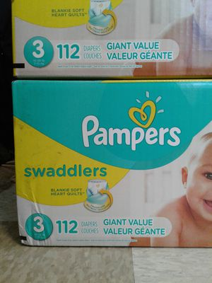 Pampers Swaddlers diapers, size 3, two boxes of 78 count($17.50 each). ....2 boxes of 112 count,($25 each) .... for Sale in Seattle, WA