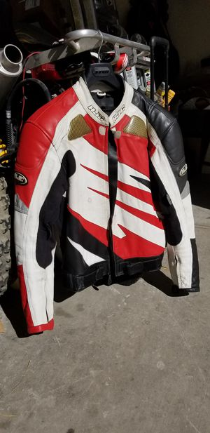 HJC size 44 leather motorcycle jacket for Sale in Las Vegas, NV
