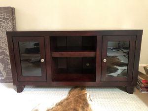 Dark brown wooden Media Stand + storage for Sale in Dallas, TX