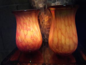 2 blown glass candle holders or vases for Sale in Mesa, AZ