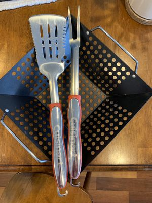 Grill tolls (grilling basket, BBQ fork, and spatula) for Sale in Washington, DC