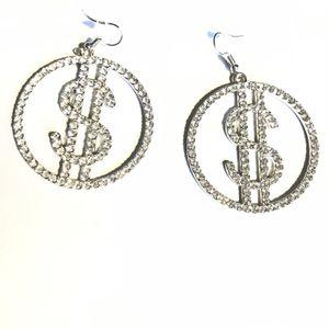 Money Hoop Dollar Sign Earrings - Silver for Sale in Dallas, TX