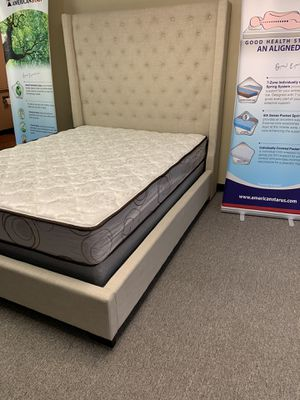 Queen-size Chloe beige bed with mattress and free delivery for Sale in Irving, TX