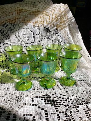 Green carnival glass goblets 7 for Sale in Torrance, CA