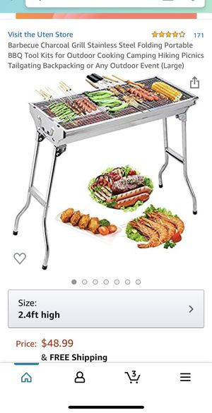 BRAND NEW! Barbecue Charcoal Grill Stainless Steel Folding Portable BBQ Tool Kits for Outdoor Cooking Camping Hiking Picnics Tailgating Backpacking o for Sale in Fountain Valley, CA