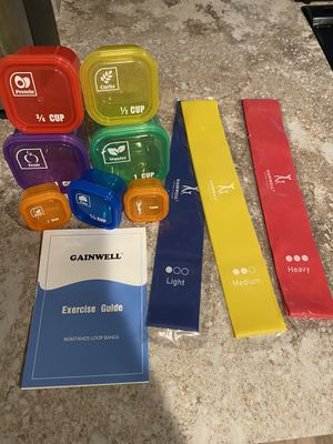 Portion control containers with bonus exercise bands for Sale in Foster City, CA
