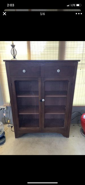 Wood cabinet with chicken wire doors for Sale in Carol Stream, IL