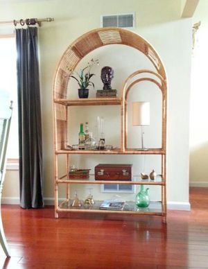 Rare Mid Century Rattan Etagere / Bookshelf / Display Case With Glass Shelves ~ Vintage Wall Shelf Unit Large Open Room Divider for Sale in New York, NY