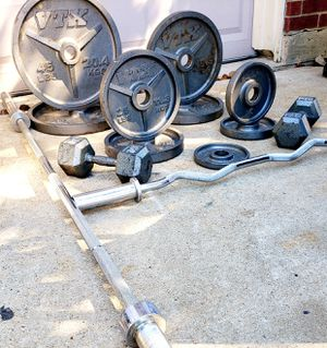 OLYMPIC WEIGHT SET (2INCH), 235LBS CURL BAR, 45LB OLMPIC BAR & A PAIR OF 30LB DUMBBELLS **FIRM for Sale in Fort Worth, TX