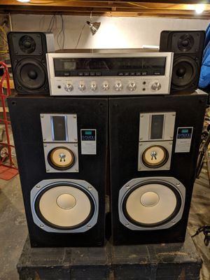 Sansui S520U Speakers + Sansui Stereo Receiver 6 for Sale in Baltimore, MD