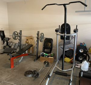 Gym equipment. Bench press, curl bar, pull up and dip set with weight rack. for Sale in Henderson, NV