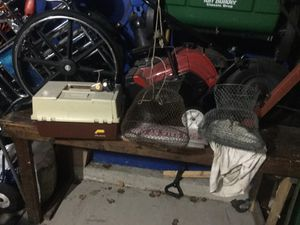 Fishing package including Plano multi shelf tackle box. Four levels very clean and well made, fishing reel Daiwa 403 model, 2 metal fishing baskets for Sale in Shorewood, IL