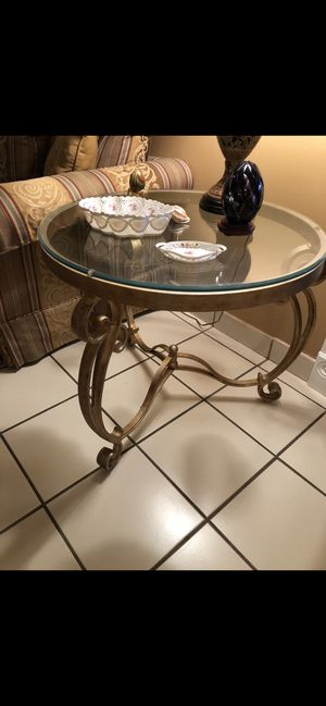Antique gold iron cast with beveled glass tables in excellent condition for Sale in Fort Lauderdale, FL