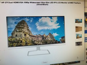 "27"" LED ULTRA slim widescreen 1080P COMPUTER MONITOR BY HP. BRAND NEW for Sale in Los Angeles, CA"