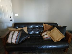 Leather couch futon for Sale in Las Vegas, NV
