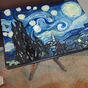 Small vintage table w/ art painted top for Sale in Houston, TX